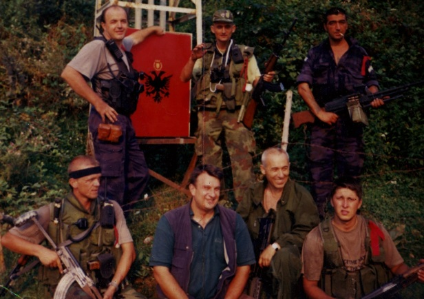 Radosavljevic with Nebjosa Minic and other suspected war criminals during Kosovo conflict.  Courtesy Fred Abrahams/HRW